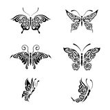 Collection black and white butterflies Royalty Free Stock Images