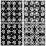 Collection of black and white classical vintage patterns, seamless black tile with white geometric line patterns Royalty Free Stock Images