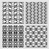 Collection of black and white classical vintage patterns, seamless black tile with white geometric line patterns. Vector eps10 Royalty Free Stock Photography