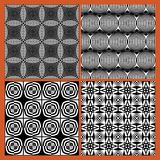 Collection of black and white classical vintage patterns, seamless black tile with white geometric repeating ornament Royalty Free Stock Images