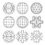 Collection of 9 black and white complex dimensional spheres and. Abstract geometric figures. Set of fractal 3D monochrome symbolic objects Royalty Free Stock Photo