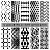 Collection of black and white geometric seamless pattern. Stock Photo