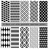 Collection of black and white geometric seamless pattern. Royalty Free Stock Photos