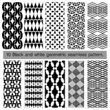 Collection of black and white geometric seamless pattern. Royalty Free Stock Images
