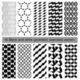 Collection of black and white geometric seamless pattern. Royalty Free Stock Image