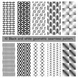 Collection of black and white geometric seamless pattern. Stock Images