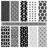 Collection of black and white geometric seamless pattern. Abstract background. Vector seamless pattern Royalty Free Stock Image
