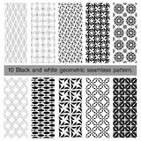 Collection of black and white geometric seamless pattern. Abstract background. Vector seamless pattern Stock Photography