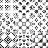 Collection of black and white geometric seamless p Stock Photography