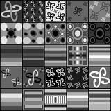 Collection of black white gray tiles Stock Image