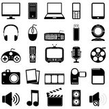 Multimedia Black & White Icons. Collection of 25 black and white media and multimedia icons, isolated on white background. Eps file available Stock Photography