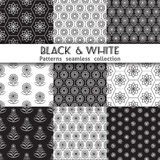Collection black white patterns. Royalty Free Stock Photos