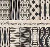 A collection of 10 black and white seamless patterns. Geometric shapes on the background,. Vector illustration Stock Image