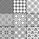 Collection of black and white seamless patterns vector illustration