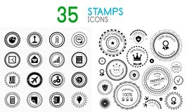 Collection of black and white stamps - quality and concept icons. Vector illustrations Vector Illustration
