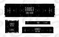Collection of black and white Web Banners Templates hand drawn modern style for the design of web sites and online shops. Vector Royalty Free Stock Image