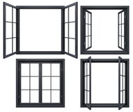 Collection of black window frames isolated on white Royalty Free Stock Photos