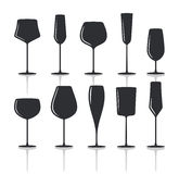 Collection of black wine glasses silhouettes t Royalty Free Stock Photo