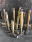 Collection of blacksmith hammers Stock Photos