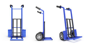 Collection of blank blue two-wheeled hand truck for transporting. Heavy loads 3d render on white stock illustration