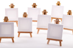 A collection of blank canvases on easels Royalty Free Stock Photo