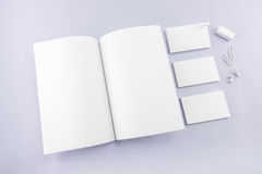 Collection of Blank catalog, magazine, book template and busines Royalty Free Stock Photos