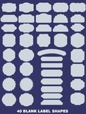 Collection of 40 blank label shapes vector illustration