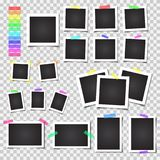 Collection of blank photo frames with shadow. Big set. Different colorful tapes Royalty Free Stock Photo