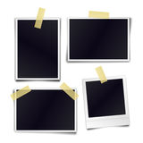 Collection of blank photo frames sticked on duct tape to white Stock Photo