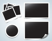 Collection of  blank retro photo frames with transparent shadow effects and curling edge.   illustrations. Collection of  blank retro photo frames with Stock Photos