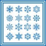 Collection bleue de flocons de neige illustration de vecteur