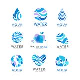 Set of blue aqua logos. Labels for water bottles. Pure and fresh product. Abstract vector elements for promo poster. Collection of 9 blue aqua logo templates of Vector Illustration