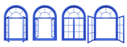 Collection of blue arched windows  on white Stock Photography