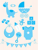 Collection of blue Baby Boy Objects Stock Image