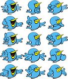 Collection of blue birds Royalty Free Stock Images