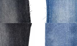 Collection of blue and black jeans fabric textures royalty free stock photography