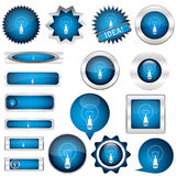 Collection of blue buttons Stock Photo