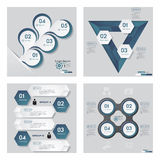Collection of 4 blue color template/graphic or website layout. Vector Background. Royalty Free Stock Images