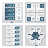 Collection of 4 blue color template/graphic or website layout. Vector Background. Stock Photo