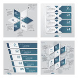 Collection of 4 blue color template/graphic or website layout. Vector Background. Stock Images