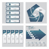 Collection of 4 blue color template/graphic or website layout. Vector Background. Stock Image