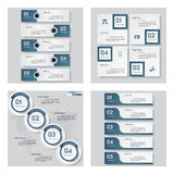 Collection of 4 blue color template/graphic or website layout. Vector Background. Royalty Free Stock Image