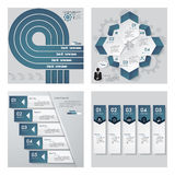 Collection of 4 blue color template/graphic or website layout. Vector Background. stock illustration