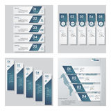 Collection of 4 blue color template/graphic or website layout. Vector Background. Royalty Free Stock Photos