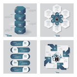 Collection of 4 blue color template. Vector Background. Royalty Free Stock Photo