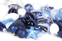 Collection of blue decorations. For christmas tree Stock Photos