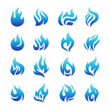 Collection of blue fire icons Royalty Free Stock Photo