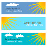 Collection of blue horizontal banners with sun. stock illustration