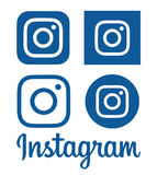 Collection of blue Instagram logos printed on paper. Kiev, Ukraine - December 12, 2016: Collection of blue Instagram logos printed on paper. Instagram is an stock illustration