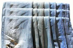 Collection of blue jeans Royalty Free Stock Photos
